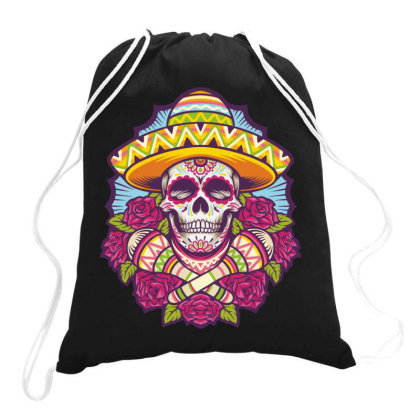 Skull Mexico Drawstring Bags Designed By Estore