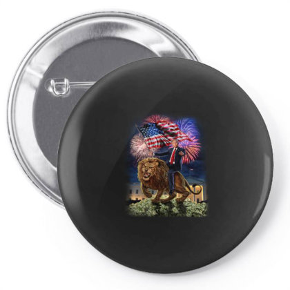 Republic President Usa America Trump On Vicious Lion Gifts Pin-back Button Designed By Liquegifts
