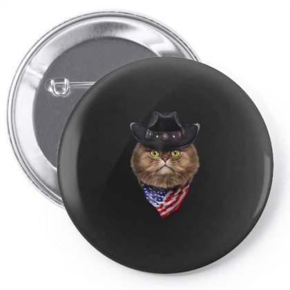 Fluffy Persian Cat In Cowboy Hat And Flag Of Usa Bandana Gifts Pin-back Button Designed By Liquegifts