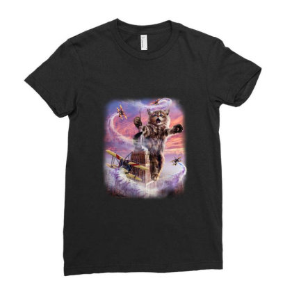 Monster Cat Terrorize Manhattan New York, Usa Gifts Ladies Fitted T-shirt Designed By Liquegifts
