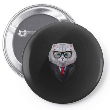 Dandy White Tabby Cat Wearing Sunglass And Posh Suit Gifts Pin-back Button Designed By Liquegifts