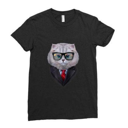 Dandy White Tabby Cat Wearing Sunglass And Posh Suit Gifts Ladies Fitted T-shirt Designed By Liquegifts