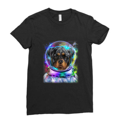 Rottweiler Dog As Astronaut Exploring Space And Galaxy Gifts Ladies Fitted T-shirt Designed By Liquegifts