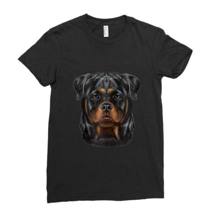 Rottweiler Dog Face Gifts Ladies Fitted T-shirt Designed By Liquegifts
