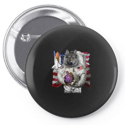 Patriotic Wolf As Usa America Astronaut Gifts Pin-back Button Designed By Liquegifts