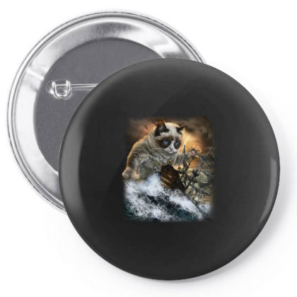 Persian Kraken Cat Attacking Ship Gifts Pin-back Button Designed By Liquegifts