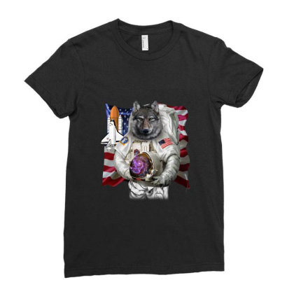 Patriotic Wolf As Usa America Astronaut Gifts Ladies Fitted T-shirt Designed By Liquegifts