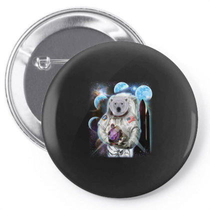 Polar Bear In Astronaut Suit, Space Shuttle Moon Gifts Pin-back Button Designed By Liquegifts
