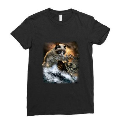 Persian Kraken Cat Attacking Ship Gifts Ladies Fitted T-shirt Designed By Liquegifts