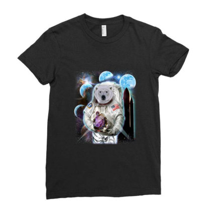 Polar Bear In Astronaut Suit, Space Shuttle Moon Gifts Ladies Fitted T-shirt Designed By Liquegifts