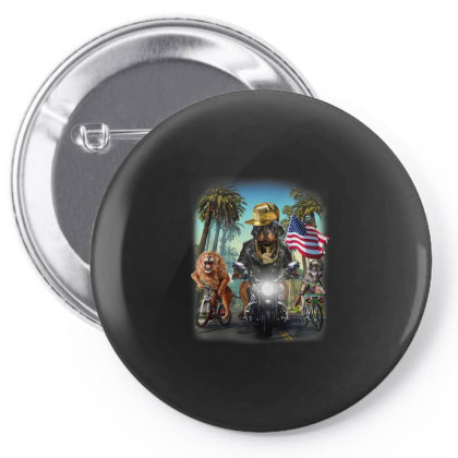 Rottweiler Dog Riding Motorcycle On California Boulevard Gifts Pin-back Button Designed By Liquegifts