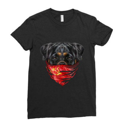 Rottweiler Dog In Soviet Union Bandana Gifts Ladies Fitted T-shirt Designed By Liquegifts