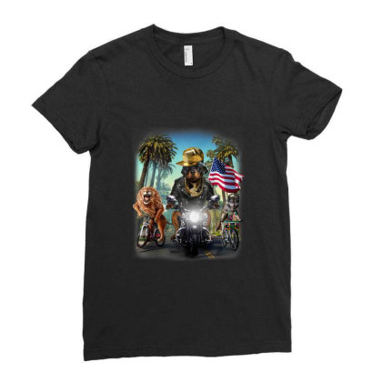 Rottweiler Dog Riding Motorcycle On California Boulevard Gifts Ladies Fitted T-shirt Designed By Liquegifts