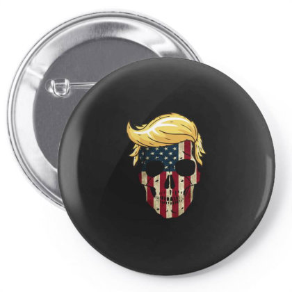 Skull With Iconic Trump Hair President Flag America Gifts Pin-back Button Designed By Liquegifts