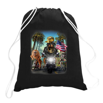Rottweiler Dog Riding Motorcycle On California Boulevard Gifts Drawstring Bags Designed By Liquegifts