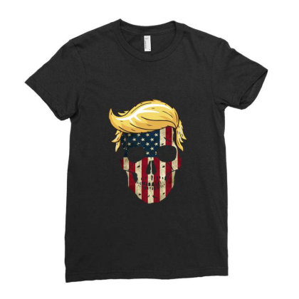 Skull With Iconic Trump Hair President Flag America Gifts Ladies Fitted T-shirt Designed By Liquegifts