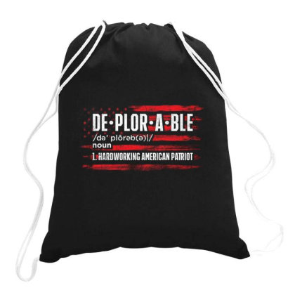 Deplorable Hardworking American Patriot Drawstring Bags Designed By Kakashop