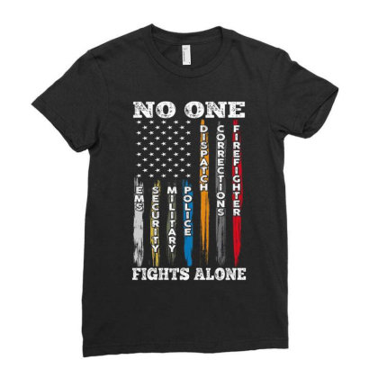No One Fights Alone Ladies Fitted T-shirt Designed By Kakashop