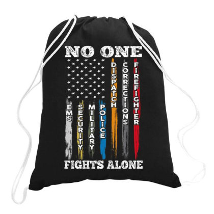 No One Fights Alone Drawstring Bags Designed By Kakashop