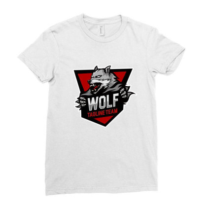 Wolf Tagline Team Ladies Fitted T-shirt Designed By Estore