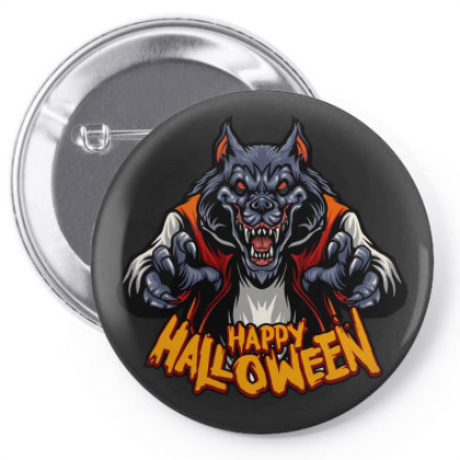 Happy Halloween Wolf Pin-back Button Designed By Estore