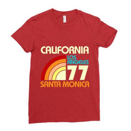 California Los Angeles Santa Monica Ladies Fitted T-shirt Designed By Redline77