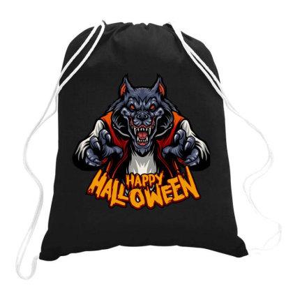 Happy Halloween Wolf Drawstring Bags Designed By Estore