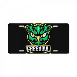 Green owl License Plate   Artistshot