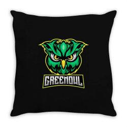 Green owl Throw Pillow   Artistshot