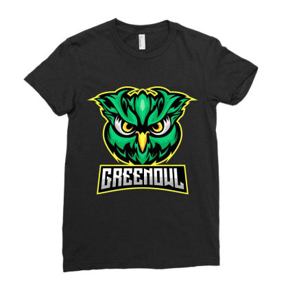 Green Owl Ladies Fitted T-shirt Designed By Estore
