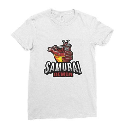 Samurai Demon Ladies Fitted T-shirt Designed By Estore