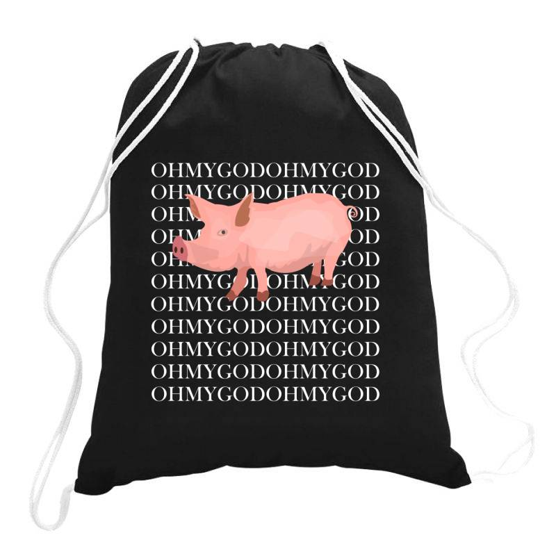Shane Pig Oh My God Drawstring Bags | Artistshot