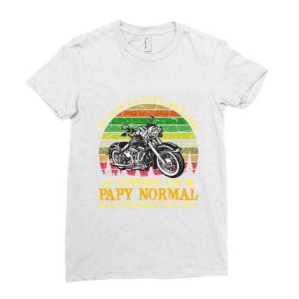 Papy Motard Ladies Fitted T-shirt Designed By Redline77