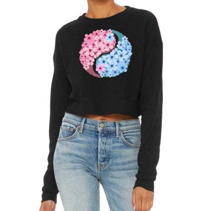 Cherry Blossom Love Yin Yang Cropped Sweater Designed By Badaudesign