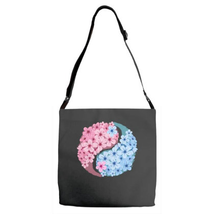 Cherry Blossom Love Yin Yang Adjustable Strap Totes Designed By Badaudesign