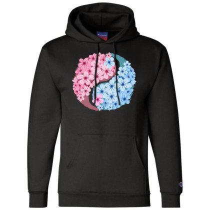 Cherry Blossom Love Yin Yang Champion Hoodie Designed By Badaudesign