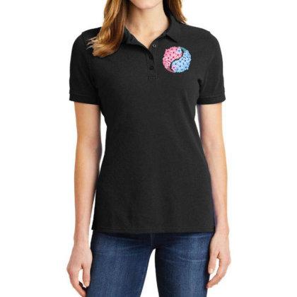 Cherry Blossom Love Yin Yang Ladies Polo Shirt Designed By Badaudesign