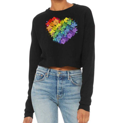 Floral Lgbt Heart Cropped Sweater Designed By Badaudesign