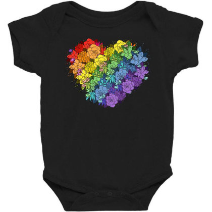 Floral Lgbt Heart Baby Bodysuit Designed By Badaudesign
