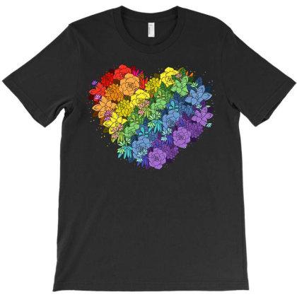Floral Lgbt Heart T-shirt Designed By Badaudesign