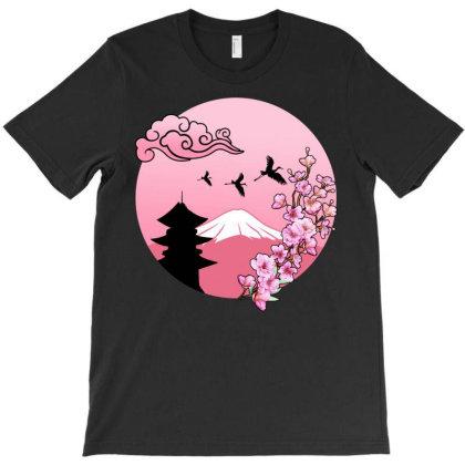 Sakura Cherry Blosseom Pink T-shirt Designed By Badaudesign