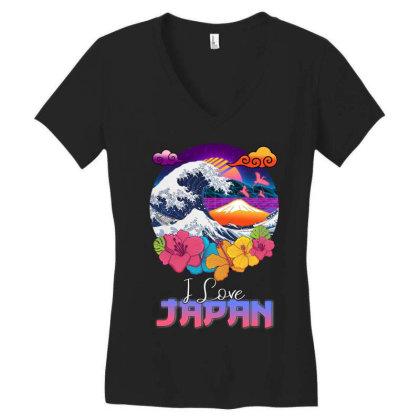 I Love Japan Women's V-neck T-shirt Designed By Badaudesign