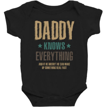 Mens Daddy Knows Everything Father's Day Gift Baby Bodysuit Designed By Cidolopez