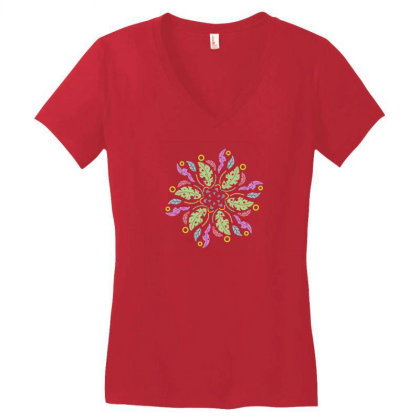Colorful Flowers Women's V-neck T-shirt Designed By Melodicdhyt