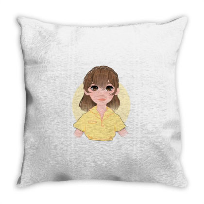 Yellow Girl Throw Pillow Designed By Mely.marmol