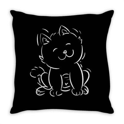 Cat Throw Pillow Designed By Kukuhhari_