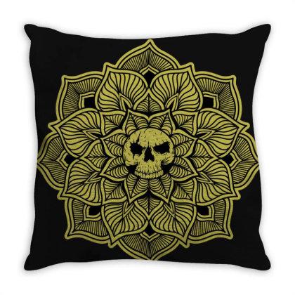 Mandalaskull Throw Pillow Designed By Aldartwork