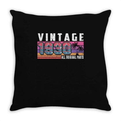 Vintage 1930 Birthday All Original Parts Throw Pillow Designed By Love Shiga