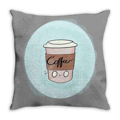 Cute Coffee Love Throw Pillow Designed By _merr_merr_draws