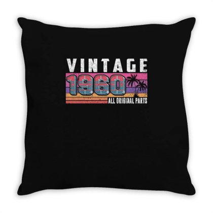 Vintage 1960 Birthday All Original Parts Throw Pillow Designed By Love Shiga